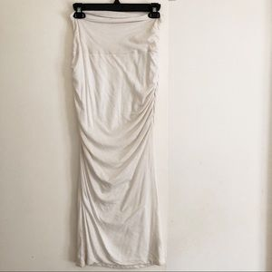 James Perse White Ruched Midi Skirt